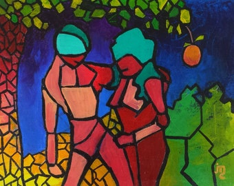 Adam & Eve Painting by J. Travis Duncan - Garden of Eden - Genesis Stained Glass - Acrylic Painting - 11x14 Canvas Panel - panoplei