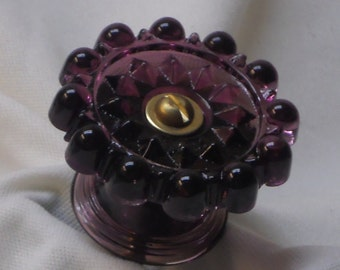 Victorian Style Drawer Pull or Door Knob in Amethyst Glass