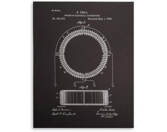 Tesla coil letterpress patent print 11x14