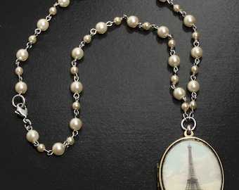 Handmade Parisian Eiffel Tower Cameo Locket Necklace on Faux Cultured Pearl Station Necklace