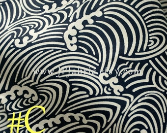 Nautical Fabric. Japanese Wave fabric. Pure Cotton. Blue White Fabric. Handcraft fabric. Tissu Japonais. JP100031-C