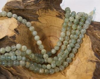 Aquamarine Smooth Round Natural 8mm Gemstone Bead-15 inch strand
