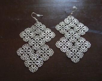 Silver Dangle Earrings, Chandelier Earrings, Filigree Earrings