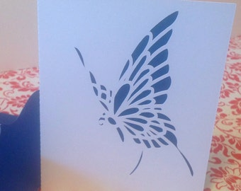 Blue Butterfly Blank Card , birthday , get well, any occasion , women, teens, just because