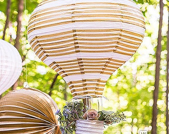 Set of 3 Hot Air Balloon Paper Lanterns In Gold And White