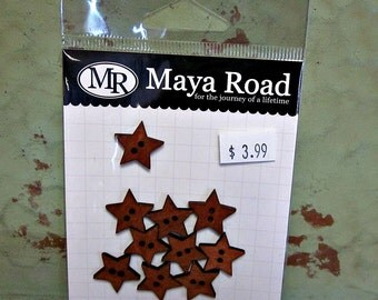 Maya Road Wood Star Buttons