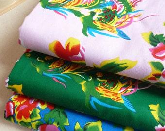 patchwork fabrics Chinese phoenix peony pink blue green