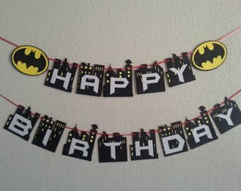 Batman Happy Birthday Banner. Can be personalized with name and age. Free Shipping USA.  Its a boy or its a girl banner