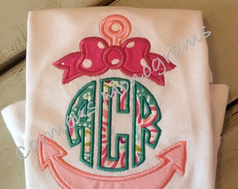 Girl's Appliqued Anchor with Appliqued Bow and Appliqued Circle Monogram on Tshirt or Bodysuit
