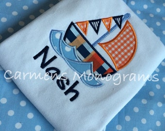 Personalized Boys Sailboat Applique on Tshirt or Bodysuit