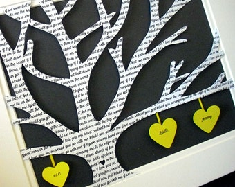 Customized Gifts for Him, Personalized 11X14 Unframed 3D Paper Tree Wedding Gift, Anniversary, Wedding Song Lyrics