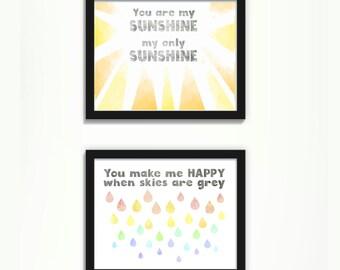 Instant Download Rainbow Nursery Art, You Are My Sunshine Nursery Print, Colorful Nursery Art Rainbow Art, Rainbow Decor You Are My Sunshine