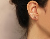 Gold flower ear cuff  , Flower Ear Climber ,Gold or Silver,   Flower stud earrings , Sterling silver or Gold plated