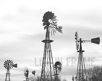 The Windmills, Black and white photography western