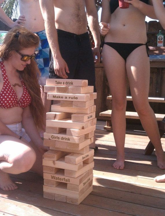 Giant Blocks Drinking Game - Laser Engraved Outdoor Tower Party Game