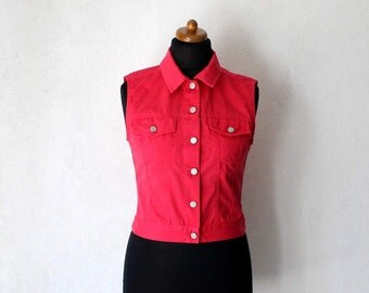 Vintage Red Cotton Vest Country Western Metal Buttons Waistcoat Small Size