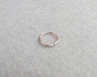 14K Rose Gold Filled Nose Ring,  Nose Hoop, Helix Piercing Hoop, Custom Size 6mm 8mm 10mm , Thin Nose Ring ,Cartilage Hoop Earring,