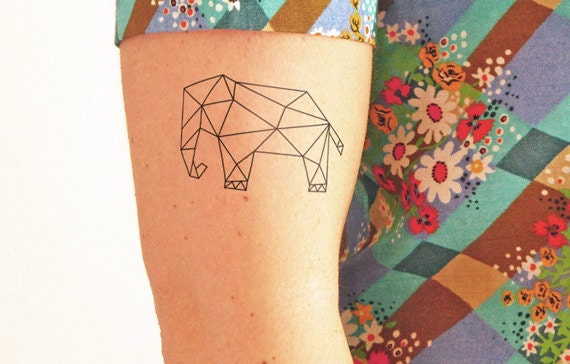 Geometric elephant temporary tattoo set of 2 for Temporary elephant tattoo