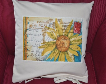 Cream pillow with reproduction vintage post card applique. Decorative throw pillow, OR Pillow Case Only  for 12 dollar, Valentine gift idea.