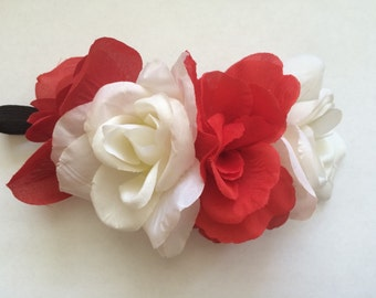 Red and White Flower Headband