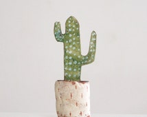 Miniature Cactus-Ceramic Cactus-Botanical Art-Ceramic Miniature-Desert Art