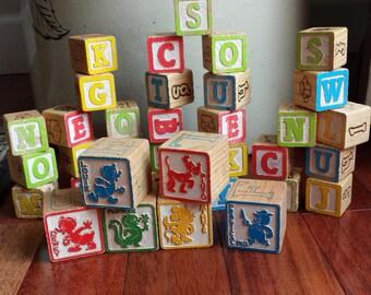 Collection of vintage wooden children's blocks