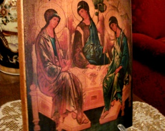 "Icon of the Holy Trinity   icon hand-painted of hot colors directly on solid wood 18x24cm (7.0""х9.5"")"