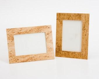 Photo frame from birch and masur birch veneer
