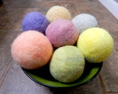 Ovella wool dryer balls. The Terra Collection. Set of Three (3) Natural Dye, bright, colorful, yellow, orange, blue, pink, purple