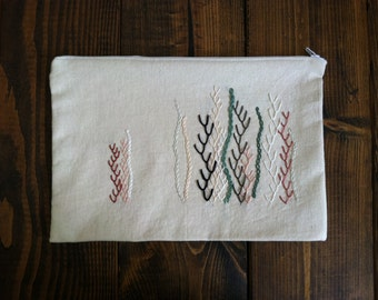 Hand-Embroidered Ocean Floor Project Pouch