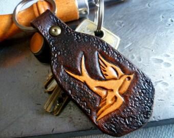 Handcrafted Leather KeyChain-Vtáčik