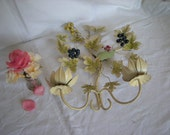 Beautiful  Vintage French Toleware 2 Arm wall Candelabra.   Tole Ware Candelabra. Tole ware wall sconces. Grape Vine Design