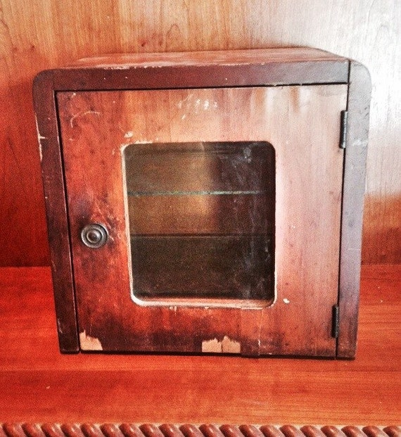 Antique Wood Amp Glass Medicine Cabinet Wooden Sterilizer Box