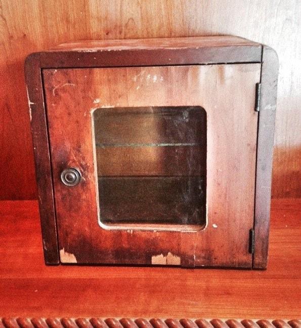 Antique Wood Amp Glass Medicine Cabinet Wooden Sterilizer Box
