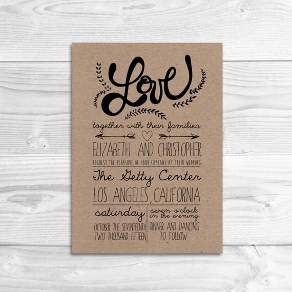 Rustic Diy Wedding Invitations: Whimsical Rustic Wedding Invitation // DIY By