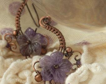 Violettes * flowery earrings