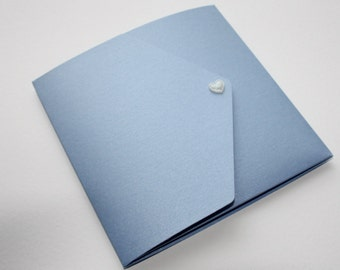Dusky Blue & White Vintage Style Pocketfold Wedding Invitation