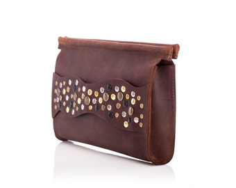 Gift for her, Leather bag, leather clutch, brown clutch, special offer, evening bag, gift for a woman, small bags, unique bag, bags on sale