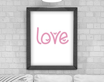 Digital Download 'love' Typography Poster, Printable Art, Instant Download, Wall Prints, Digital Art, typography quote, Scandinavian print