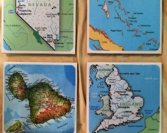 Custom Map Coasters (set of 4)