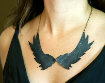 Black birds on brass chain necklace - handmade from upcycled bike inner tubes