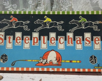 Steeplechase: Apart vintage game from 1961 with horses pieces + dice Mulder/board game/Horses/Geel/blue/red/green/Dice