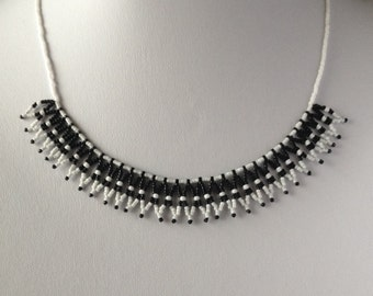 Beaded Lace Necklace ~ Black and White Chain ~ Bead Jewellery ~ Jewelry