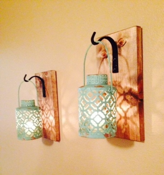 Rustic Turquoise Lantern Pair 2 Wall Decor Rustic By