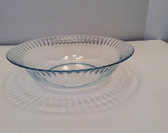 Vintage Blue Bowl  Scalloped Edge Colorex Made in Brazil