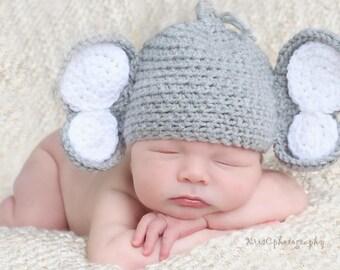 Baby Elephant Crochet Hat, Newborn Elephant Hat, Baby Elephant Hat, Crochet Elephant Hat, Elephant Crochet Hat, Elephant Photo Prop Hat
