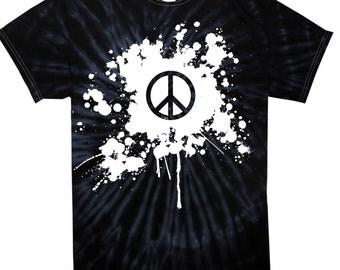 Peace Symbol Grunge Tie Dye Men's T-Shirt