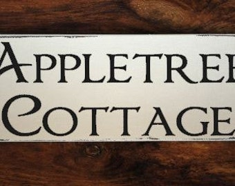 Personalised Wooden Painted Shabby Cottage House Name Sign / Plaque..30cm x 10cm