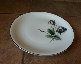 Dinner Plate Stonegate  Bavarian China in the Midnight Rose Pattern.Dark Gray / Black Roses, Thick Platinum Trim, Beautiful and Elegant