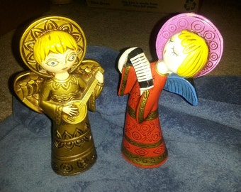 vintage 2 angels paper mache vg playing instruments
